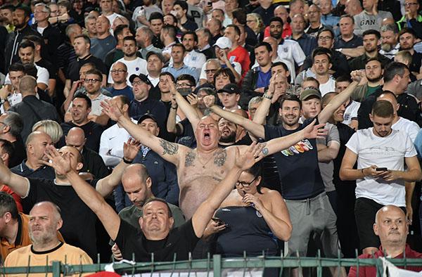 English fans during Bulgaria-England game